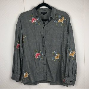 Topshop embroidered button down
